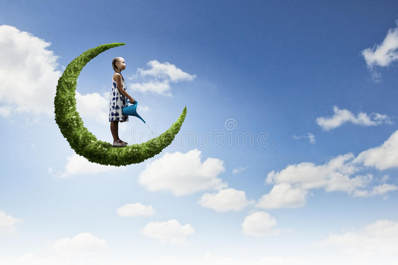 Download Kid on moon stock image. Image of fantasy, catching, little - 38533287
