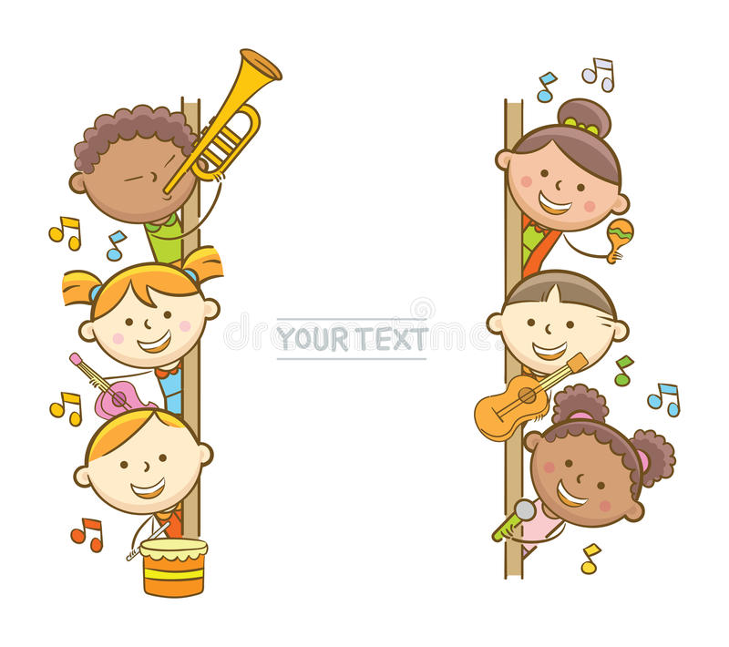 Kid Musicians And Whiteboard stock illustration