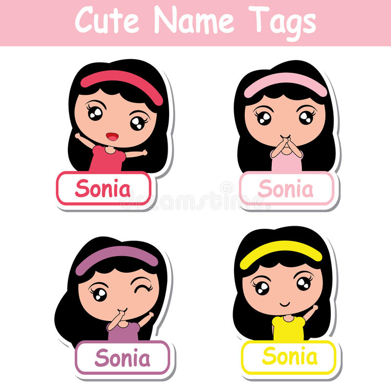 Kid name tags vector cartoon with cute colorful girls suitable for children name tags stock illustration