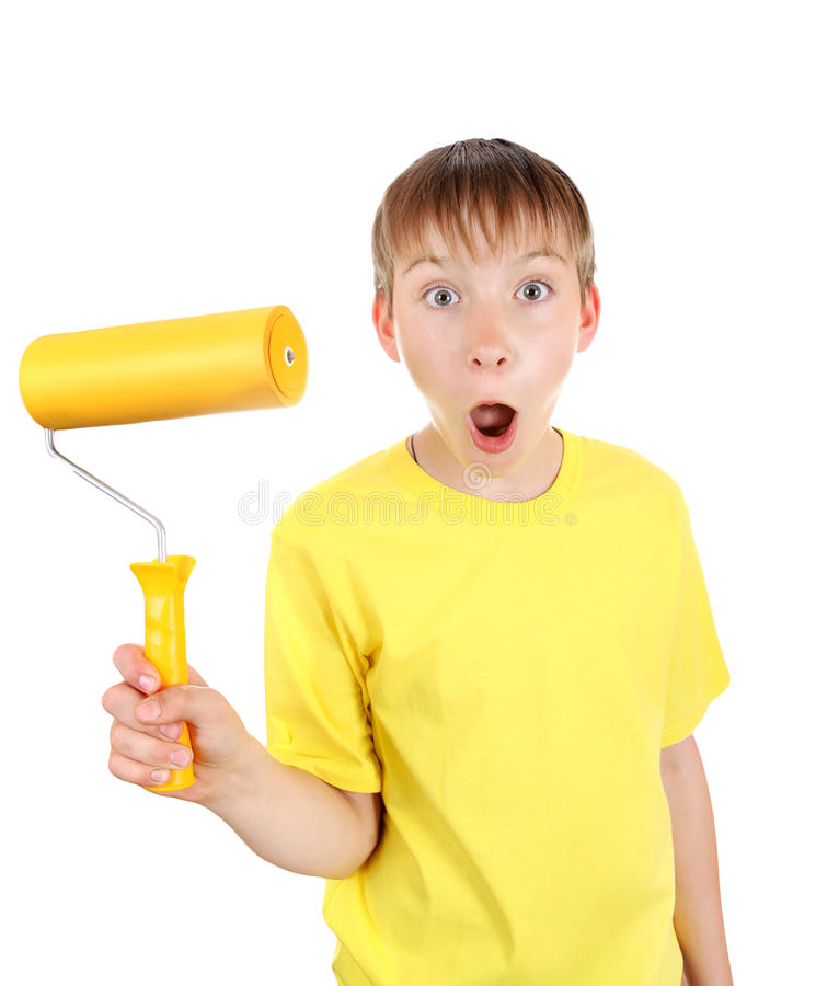 Kid with Paint Roller. Surprised Kid with Paint Roller Isolated on the White Background stock photo