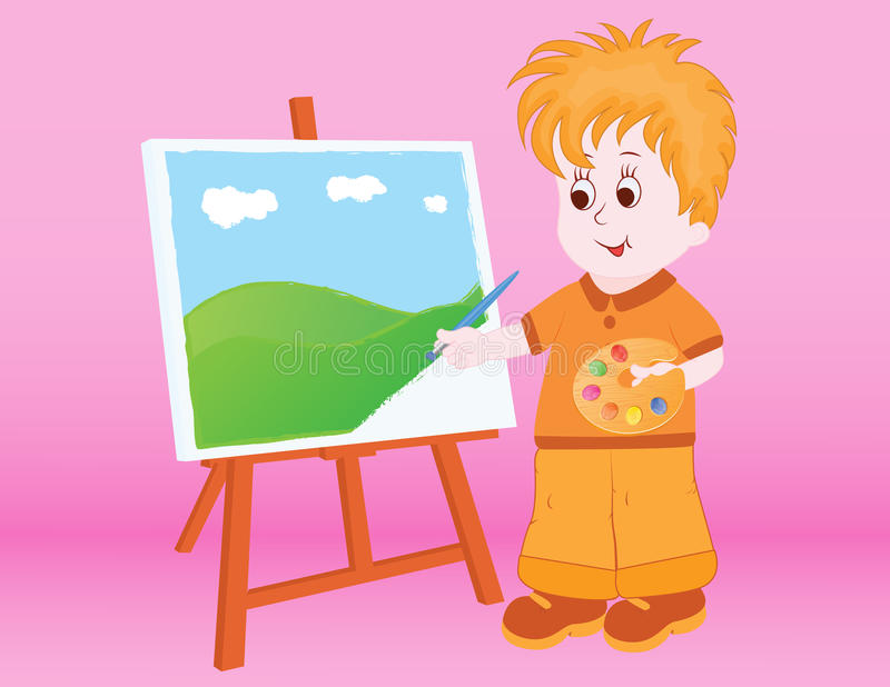 Kid Painting a landscape stock image