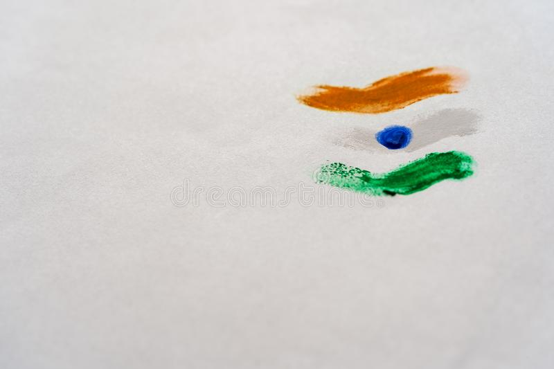 Kid Paints Indian National Flag stock image