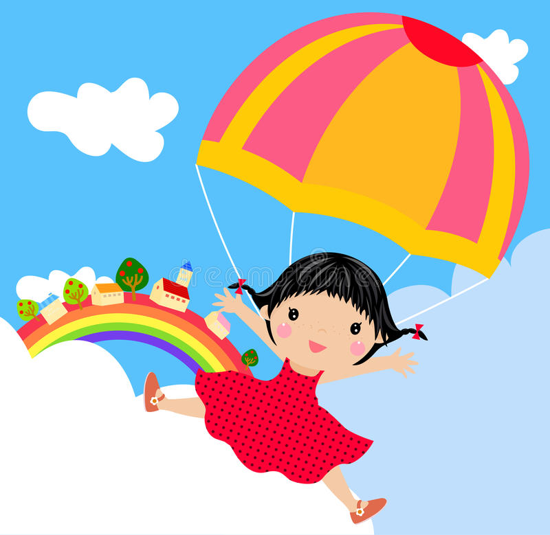 Download Kid with parachute stock vector. Illustration of sweet - 18539979