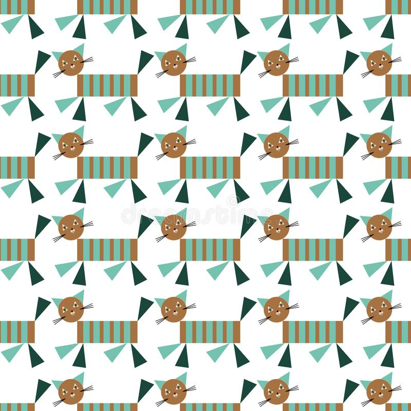 Kid patchwork quilt vector seamless with geometrical cats and simple geometrical shapes.Surface pattern design with cats stock illustration