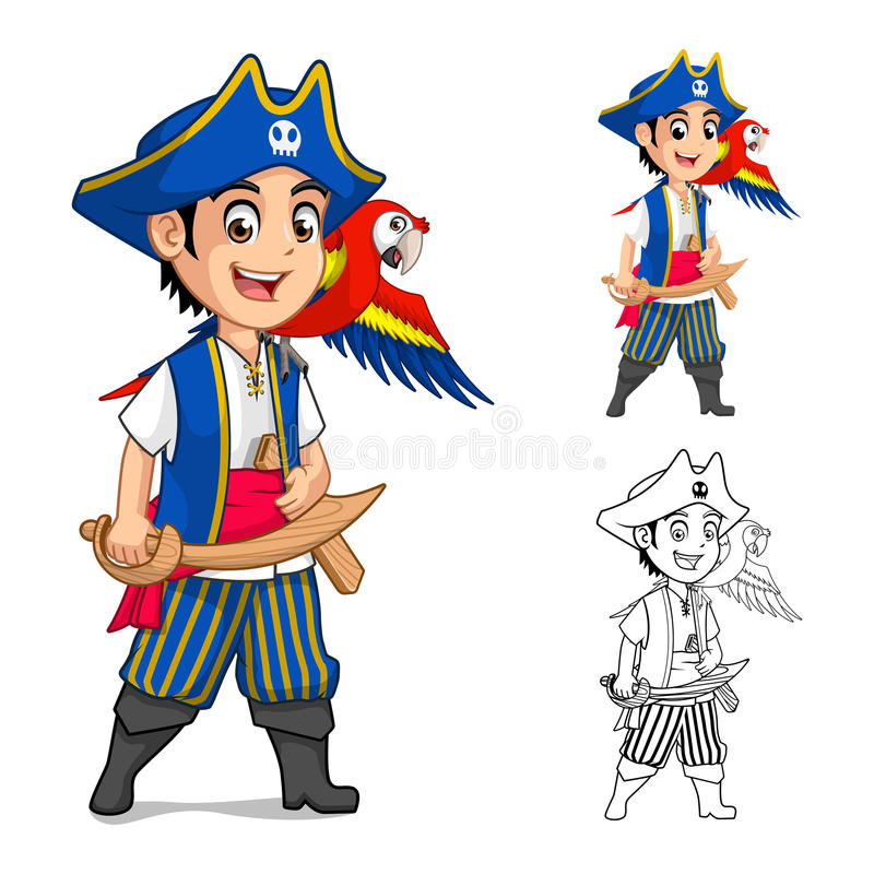 Kid Pirate Holding Wooden Sword with Scarlet Mawaw Bird Cartoon Character stock illustration