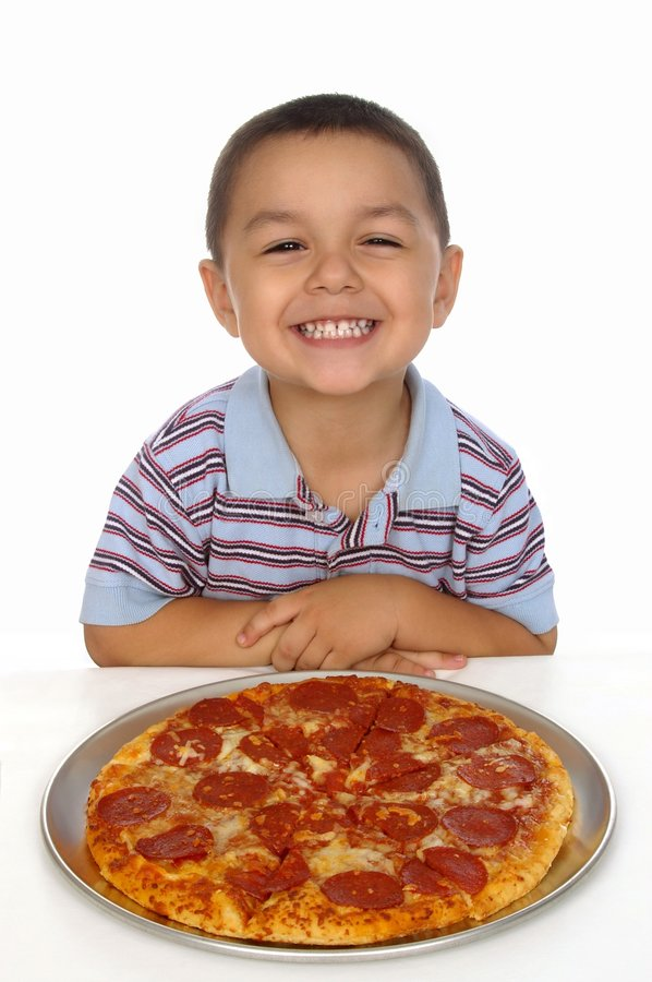 Kid and pizza stock photography