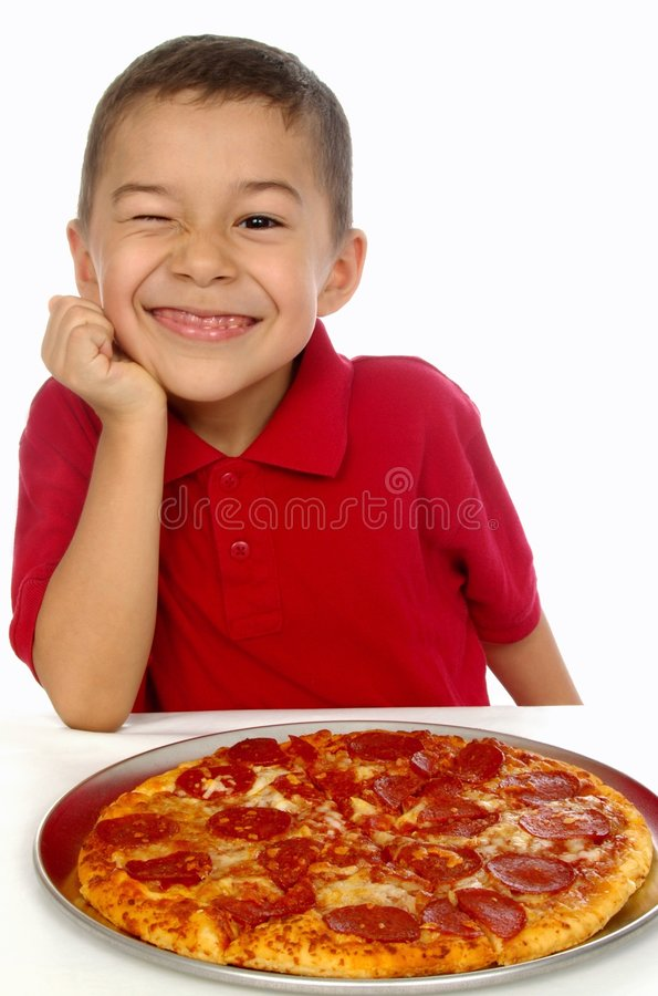 Kid and pizza 6 years old stock photos