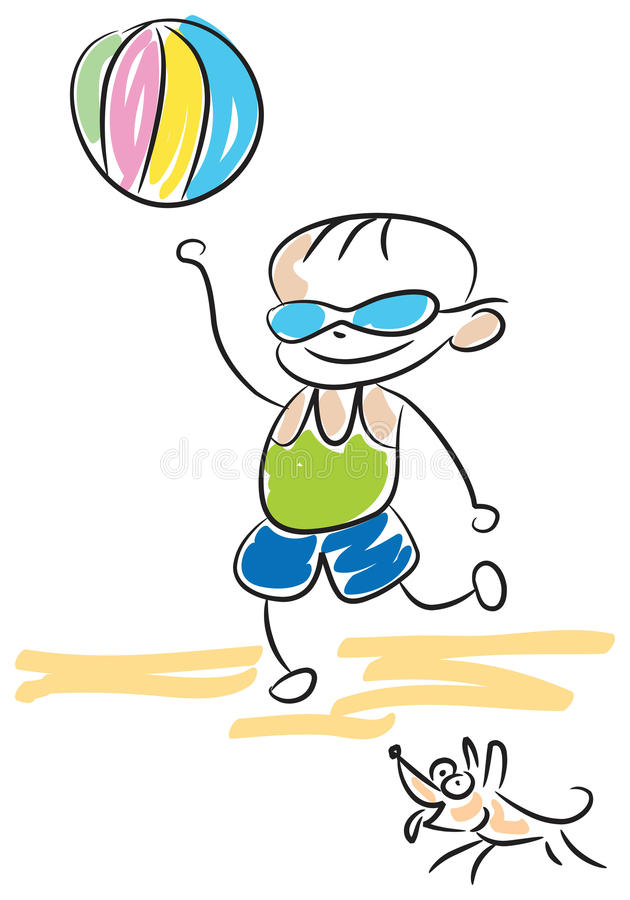 Download Kid play with ball stock vector. Image of cartoon, cute - 14762280