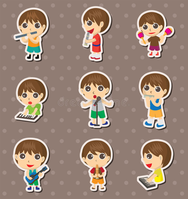 Download Kid play music stickers stock vector. Image of instruments - 24513061