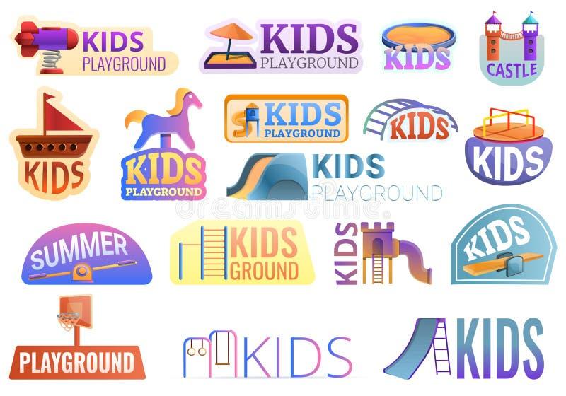 Kid playground outside logo set, cartoon style. Kid playground outside logo set. Cartoon set of kid playground outside vector logo for web design royalty free illustration