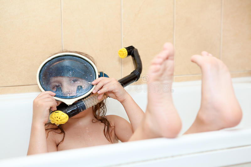 Download Kid Playing In Bath With Snorkel And Mask Stock Image - Image: 28771391