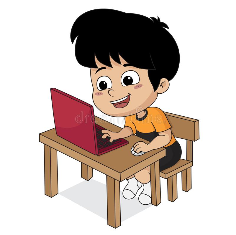 Kid playing computer.vector and illustration. In the night,Kid playing computer.vector and illustration royalty free illustration