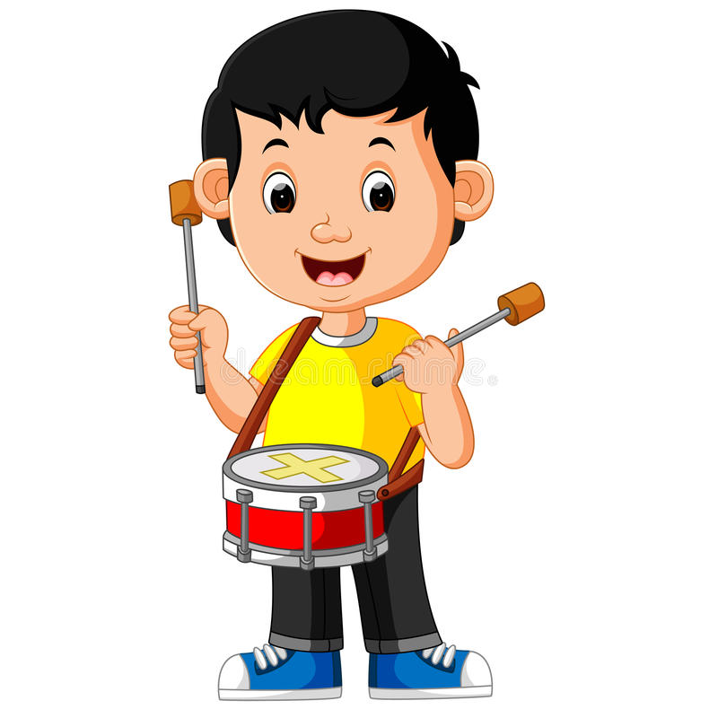 Kid Playing with a Drum. Illustration of Kid Playing with a Drum royalty free illustration