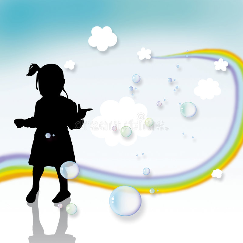 Download Kid playing and rainbow stock illustration. Image of hill - 4315550