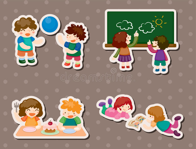 Kid playing stickers vector illustration