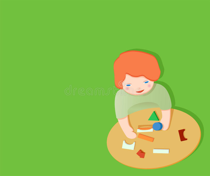 Download Kid playing with toy stock illustration. Illustration of flowers - 12270553