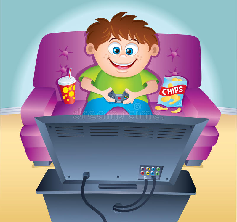 Kid Playing Video Game On Couch Stock Photo Image Of