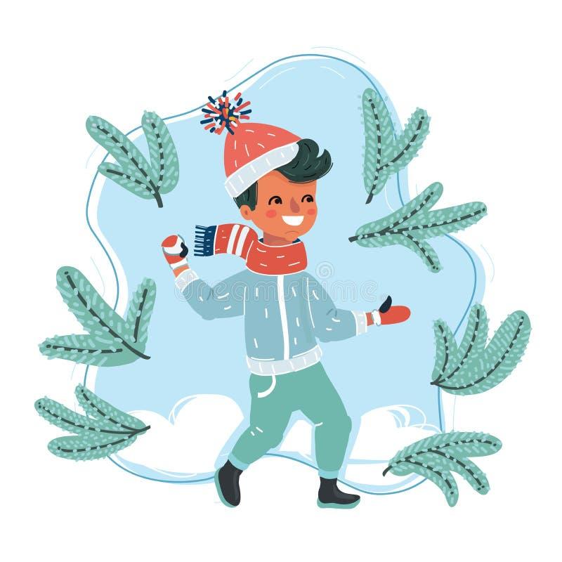 Kid plays snowballs stock illustration