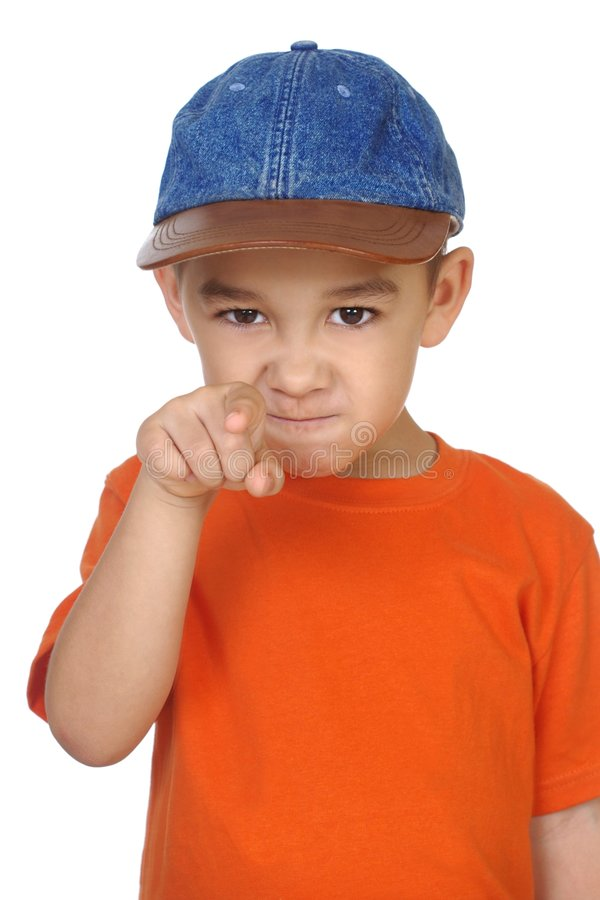 Kid pointing a finger royalty free stock photo
