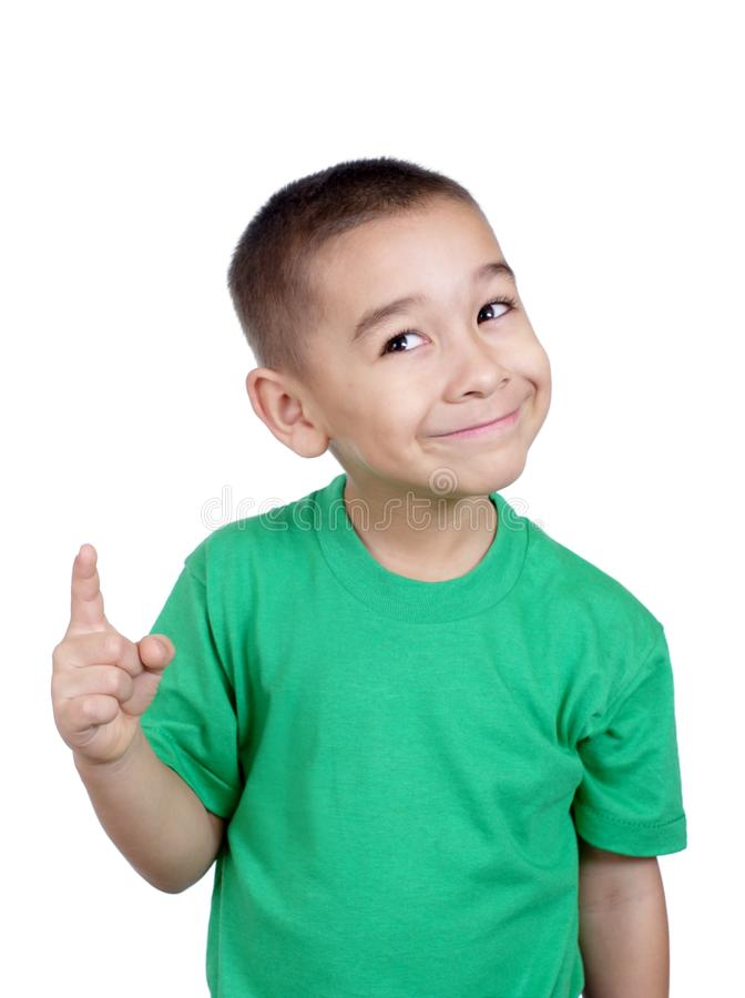 Kid pointing up royalty free stock photography