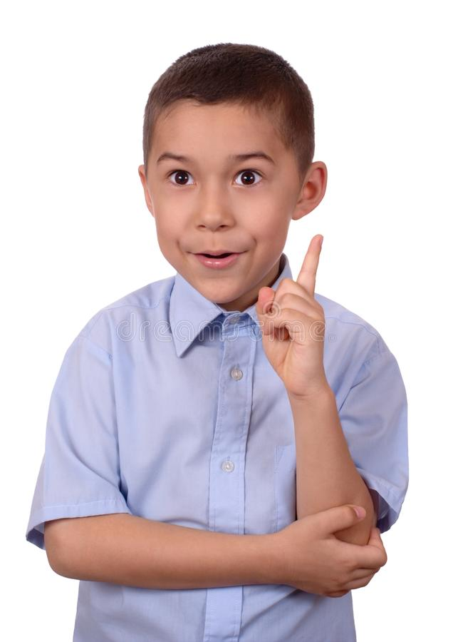 Kid pointing up saying ah-ha stock image
