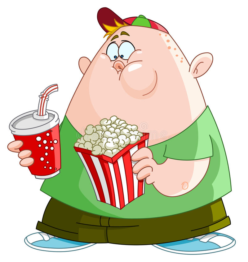 Kid with popcorn and soda stock illustration