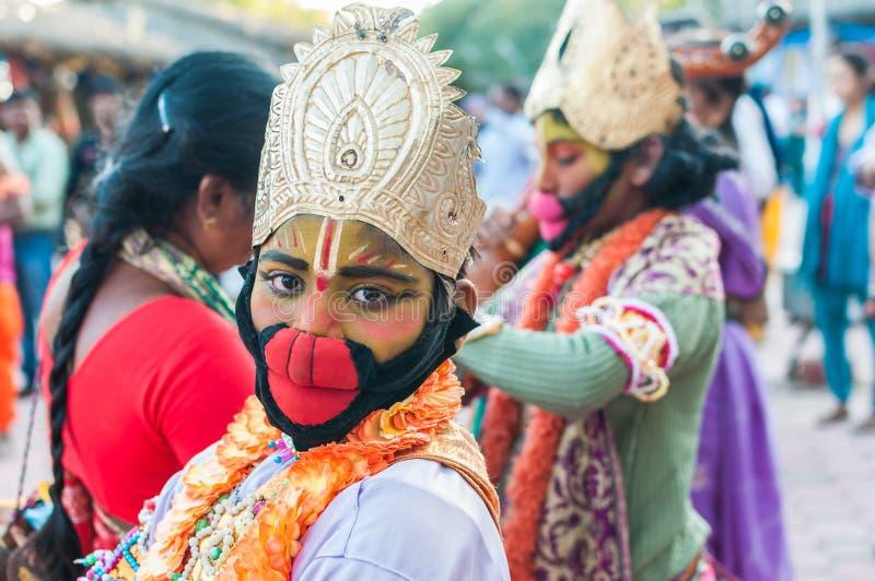 Kid posing in a Hanuman getup stock images