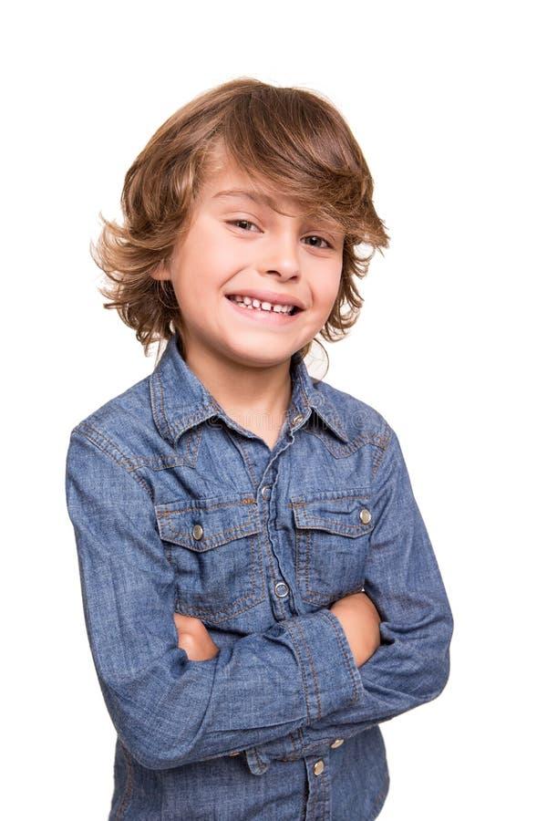 Kid posing over white stock photos
