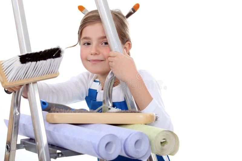 Download Kid Pretending To Decorate Stock Photo - Image: 33680530