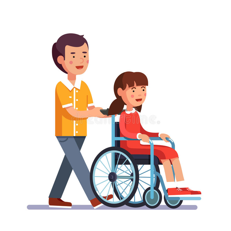 Kid pushes wheelchair with person royalty free illustration