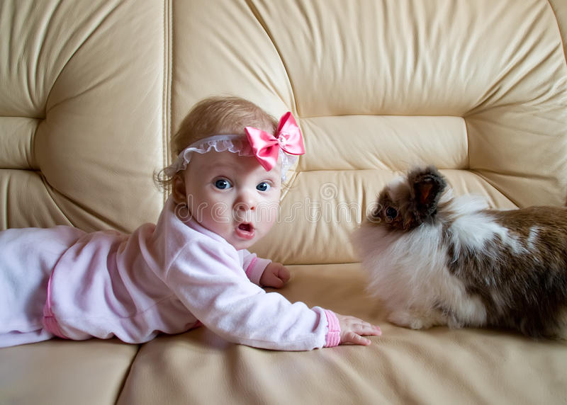The kid and the rabbit. Funny little girl wit fluffy bunny stock images