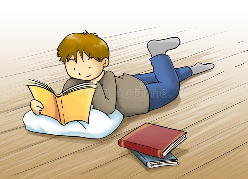 Kid reading a book cartoon illustration. Kid, a boy reading a book lying on the floor. cartoon illustration with beautiful color royalty free illustration