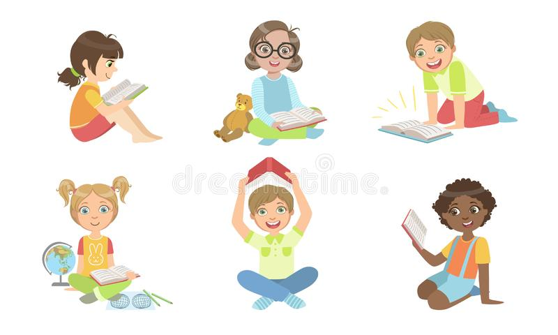 Kid Reading Books Set, Cute Boys and Girls Study and Enjoying Literature Vector Illustration royaltyfri illustrationer
