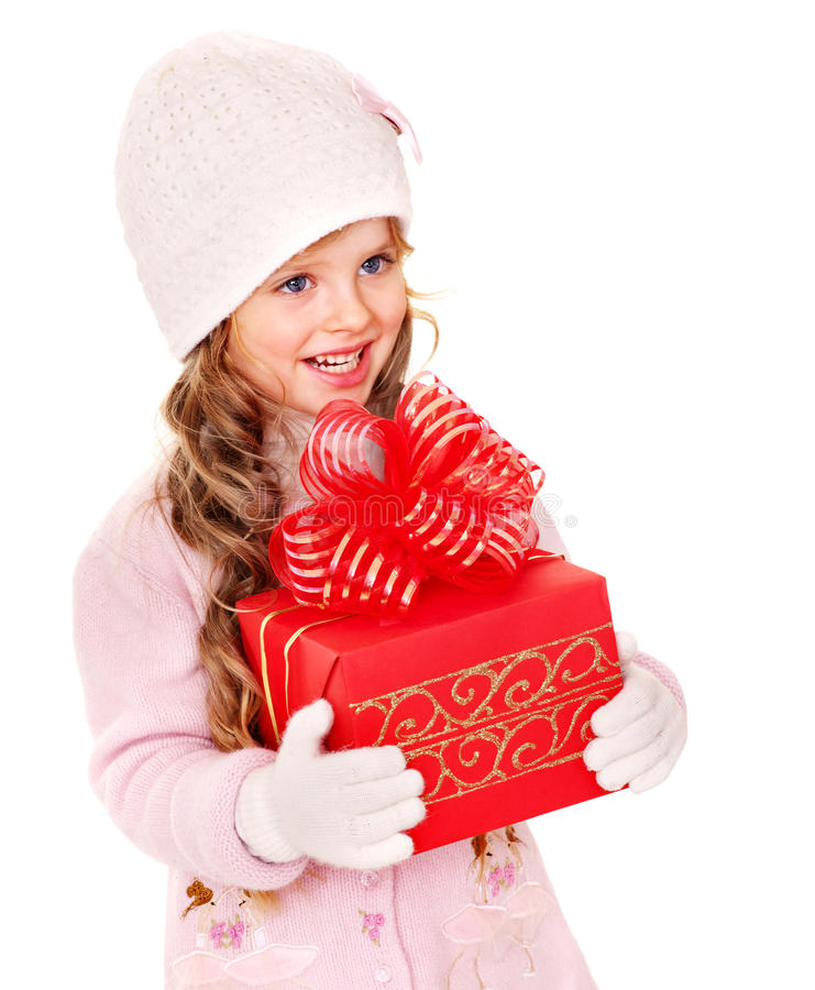 Kid with red Christmas gift box. stock photos