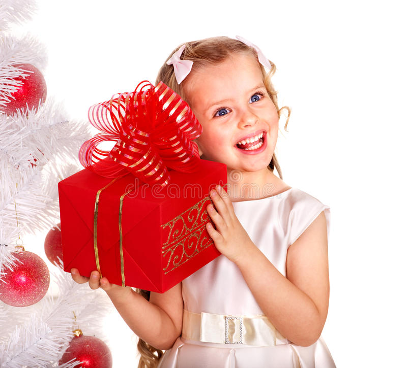 Download Kid With Red Christmas Gift Box. Stock Photo - Image: 27568918