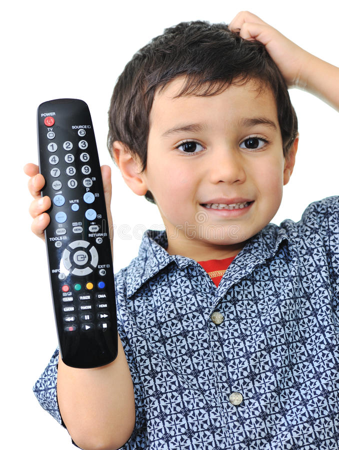 Download Kid with remote control stock photo. Image of program - 13726094