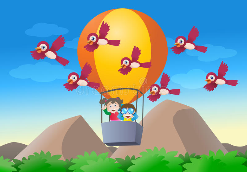 Download Kid riding hot air balloon stock illustration. Image of recreation - 24550602