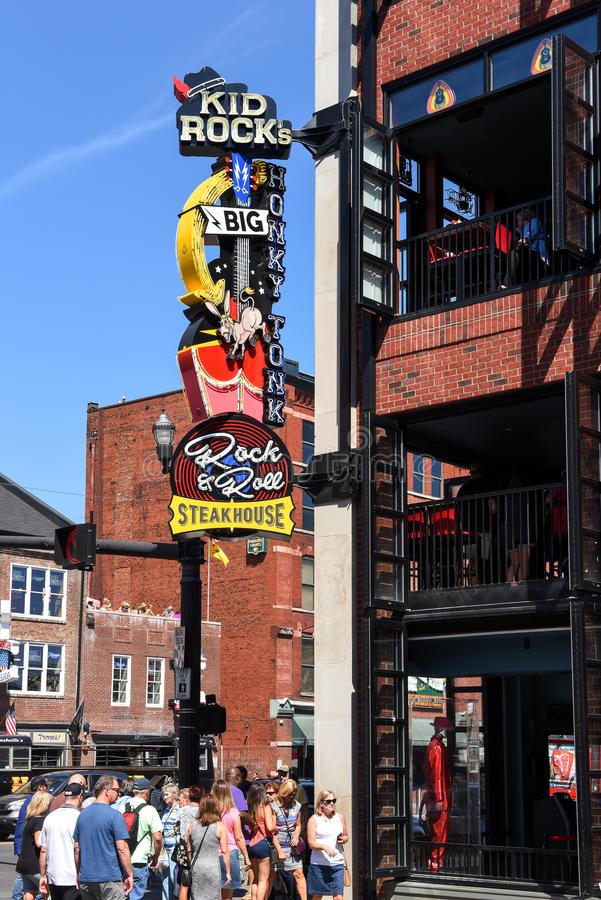 Kid Rock's restaurant/bar in Nashville with controversial sign royalty free stock photo
