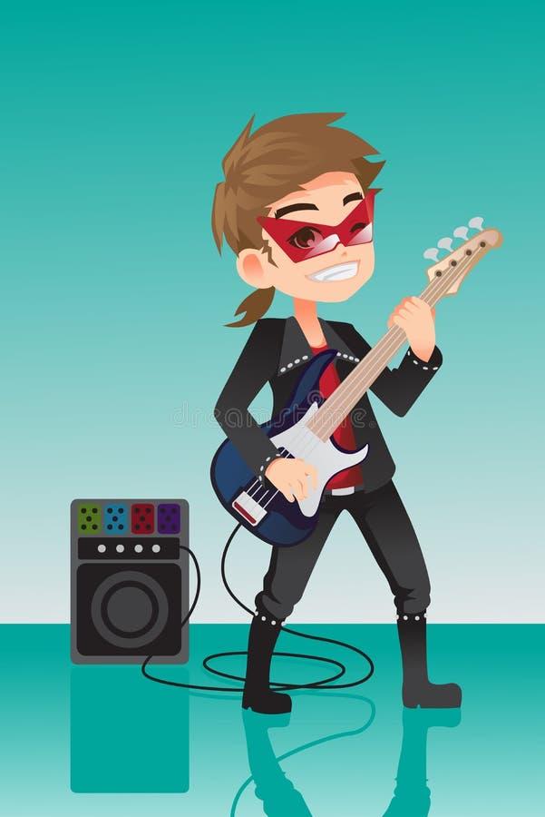 Kid rocker. A vector illustration of a kid rocker playing electric guitar stock illustration