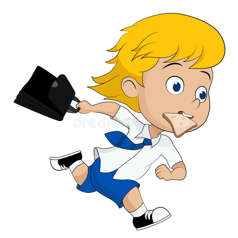 Kid running hurry because he late to go to school. Vector and illustration royalty free illustration