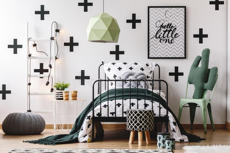Kid`s bedroom with green accents stock images