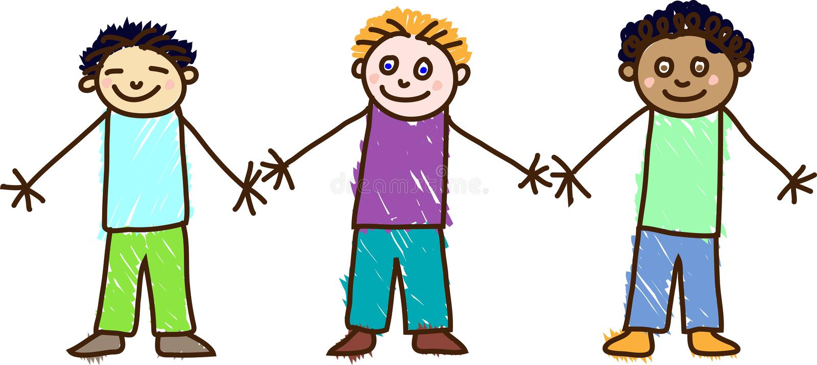 Kid's drawing. Children's day. Three boys. The Asian in a blue T-shirt and green trousers, the European in a violet T-shirt and blue trousers and the African in vector illustration