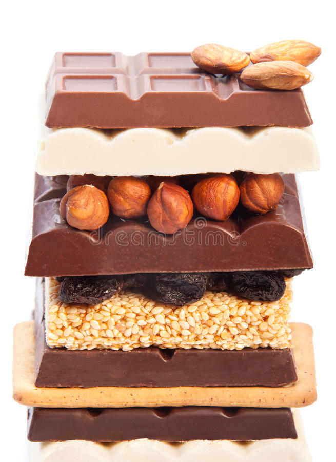 Kid's dream. Chocolate, sweet bars of all kinds including cookies e.t.c stock image