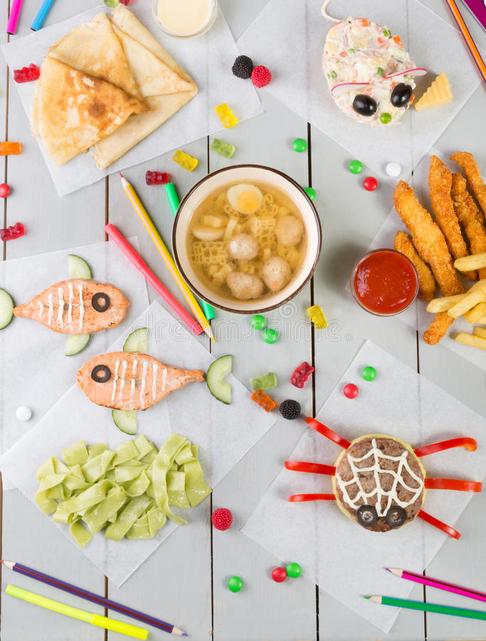 Kid`s food menu set. Of funny meals stock photos