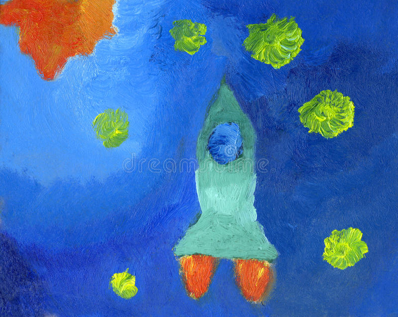 Kid's oil painting of space rocket and stars royalty free illustration