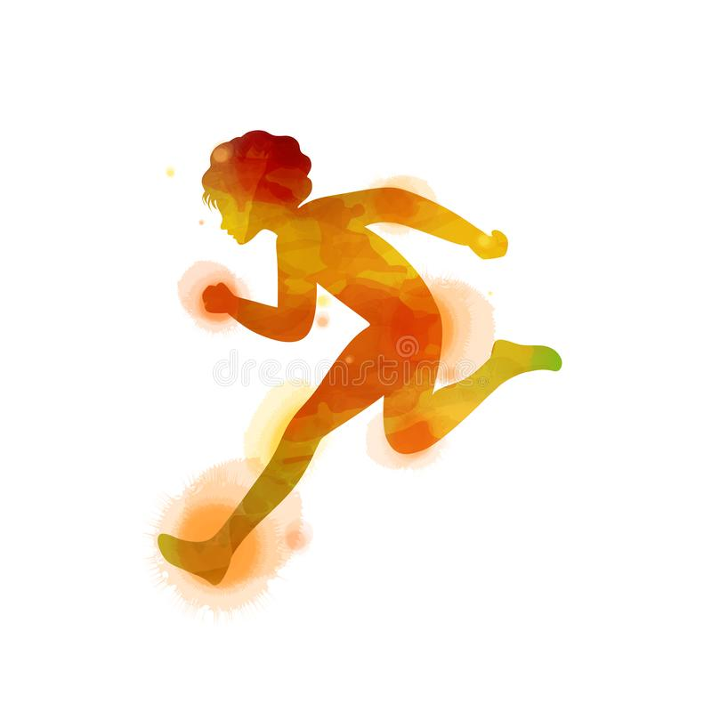 Kid`s running silhouette on watercolor background. Runner vector illustration. Digital art painting. stock illustration