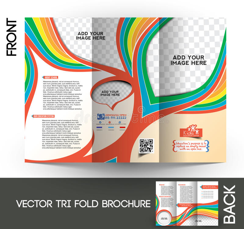 Kid's School Tri-Fold Brochure. Kid's School Tri-Fold Mock up & Brochure Design stock illustration