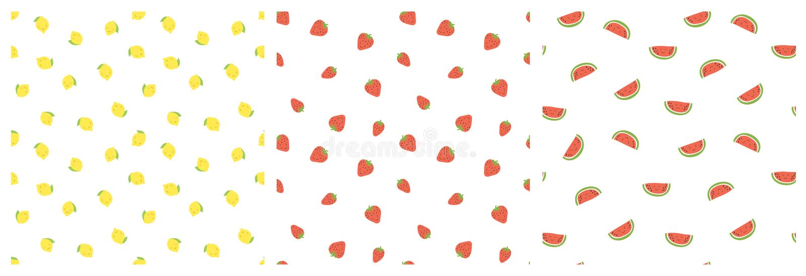 Kid`s seamless pattern. Smiling lemon, strawberry, watermelon. Exotic fruit fashion print. Design elements for baby textile or royalty free illustration