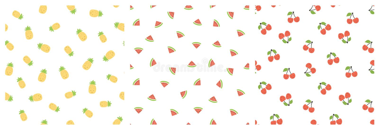 Kid`s seamless pattern. Smiling pineapple, watermelon, cherry. Exotic fruit fashion print. Design elements for baby textile or vector illustration