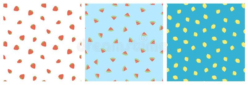 Kid`s seamless pattern. Smiling strawberry, watermelon, lemon. Exotic fruit fashion print. Design elements for baby textile royalty free illustration